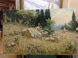 Старая картина Крымский пейзаж-Июль 1966 г. Калмыков Ф. Б.(1932-1967), фото №8