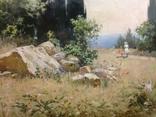 Старая картина Крымский пейзаж-Июль 1966 г. Калмыков Ф. Б.(1932-1967), фото №10