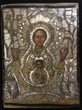 """Икона шитая """"Богородица Знамение"""" в киоте 27 на 20, фото №3"""
