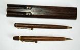 Набор ш.ручка и цанг.карандаш в деревянном футляре, фото №4