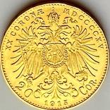 20 крон (рестрайк) 1915. Австро-Венгрия (золото 900, вес 6,78 г), фото №5