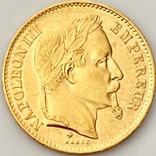 20 франков. 1868. Наполеон III. Франция (золото 900, вес 6,46 г), фото №3