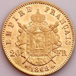 20 франков. 1868. Наполеон III. Франция (золото 900, вес 6,46 г), фото №6