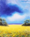 Картина, Над жовтим полем, 25х30 см. Живопис на полотні, фото №2