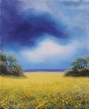 Картина, Над жовтим полем, 25х30 см. Живопис на полотні, фото №3