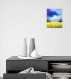 Картина, Над жовтим полем, 25х30 см. Живопис на полотні, фото №6