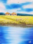 Картина, Дві хатини, 15х20 см. Живопис на полотні, фото №2