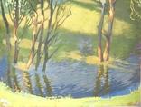 Лес в весеннем разливе Гуашь Бумага 41Х30 см, фото №5