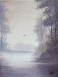 Картина, Туманний ранок, 15х20 см. Живопис на полотні, фото №2