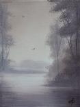 Картина, Туманний ранок, 15х20 см. Живопис на полотні, фото №3