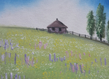 Картина, Хатина на пагорбі, 15х20 см. Живопис на полотні, фото №4