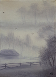 Картина, Ранок у селі, 15х20 см. Живопис на полотні, фото №3