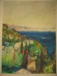 """Крым """"Кристалл"""" июнь 1973 Подписана Акварель 33Х46 см, фото №3"""