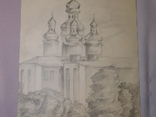 Церковь. Бумага, карандаш. Размер 24х36 см., фото №4