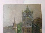 Церковь. Картон, масло. Размер 18,5х23,5 см., фото №3