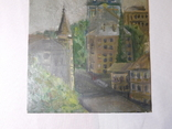 Церковь. Картон, масло. Размер 18,5х23,5 см., фото №4