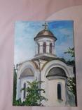 Церковь. Фанера, масло. Размер 28,5х39,5 см., фото №2