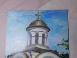 Церковь. Фанера, масло. Размер 28,5х39,5 см., фото №3