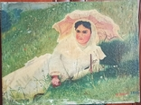 Женщина под зонтиком. Копия. 56*42 см., фото №2