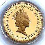25 фунтов. 1988. Стоящая Британия. Елизавета II (золото 917, 1/4 унции), фото №2
