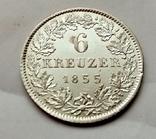 Германия Гессен-Дармштадт 6 крейцеров 1855 год, фото №2