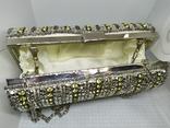 Вечерняя каркасная сумочка-клатч расшитая камнями, бисером и бусинами. Новая, фото №9