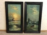 Парные картины (морской сюжет), подписные, фото №2