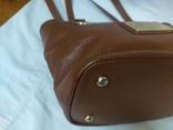 Кожаная женская сумочка. Плотная мясистая кожа. Англия. Без ручек 30х13х19см, фото №9