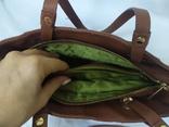 Кожаная женская сумочка. Плотная мясистая кожа. Англия. Без ручек 30х13х19см, фото №12