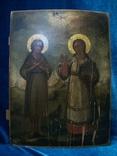 Икона два святых. Дерево, письмо, фото №3