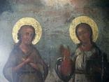 Икона два святых. Дерево, письмо, фото №7
