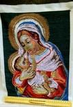 Вышитая икона ручная работа Богородица, фото №3