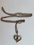 Подвес в виде сердечка + цепочка длина 60 см. Серебро 925., фото №8