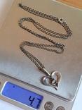 Подвес в виде сердечка + цепочка длина 60 см. Серебро 925., фото №10