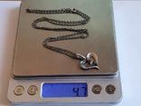 Подвес в виде сердечка + цепочка длина 60 см. Серебро 925., фото №12