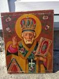 Святой Николай - старинная икона ( 30 на 39 см ), фото №13