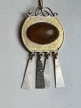 Советский подвес. Серебро 875 проба. Камень. Позолота., фото №2