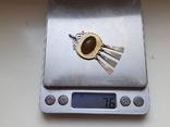 Советский подвес. Серебро 875 проба. Камень. Позолота., фото №12