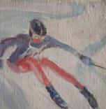 """1980, В.Кнышевский""""Крутые виражи"""",х.м.40*45см, фото №4"""