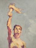 """1980,Кнышевский В.""""Олимпийский огонь""""орг.м.65*49см, фото №5"""