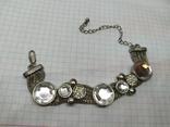 Браслет на витых полых цепочках с декором из камней. (3), фото №2