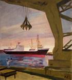 """1982,Кнышевский В.""""Северный порт"""",х.м.46*40см, фото №2"""