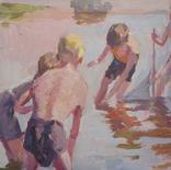 """1987,Кнышевский В.""""Рыбаки"""",орг.м.47*79см, фото №4"""