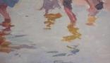 """1987,Кнышевский В.""""Рыбаки"""",орг.м.47*79см, фото №7"""