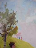 """1980,Кнышевский В.""""Юные планеристы"""",х.м.48*45см, фото №3"""