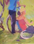 """1980,Кнышевский В.""""Юные планеристы"""",х.м.48*45см, фото №5"""