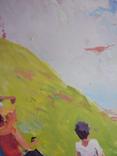"""1980,Кнышевский В.""""Юные планеристы"""",х.м.48*45см, фото №6"""
