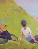 """1980,Кнышевский В.""""Юные планеристы"""",х.м.48*45см, фото №8"""