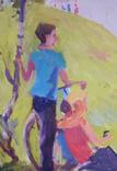 """1980,Кнышевский В.""""Юные планеристы"""",х.м.48*45см, фото №10"""