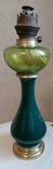 Керосиновая лампа зеленого стекла с колбой и с декорированным туловищем .Германия, фото №5
